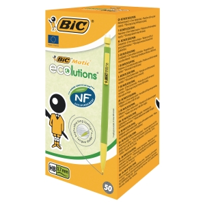 BOITE 50 PORTEMINES JETABLES BIC MATIC ECOLUTIONS 0,7 MM BOUT GOMME