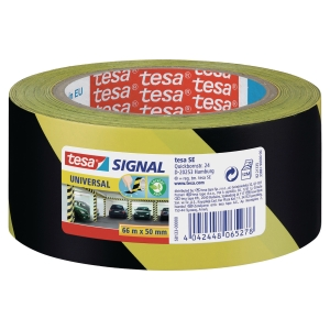 tesa®  58133 signal universal adhesive tape yellow/black, 50 mm x 66 m