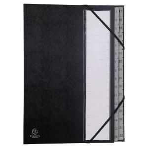 Exacompta multipart file 32 compartments cardboard black