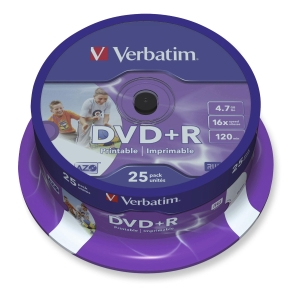 VERBATIM DVD+R PRINTABLE 4.7GB 16X - SPINDLE OF 25
