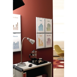 LOT DE 4 PORTE-AFFICHES CADR INFO PAPERFLOW COLORIS ALU