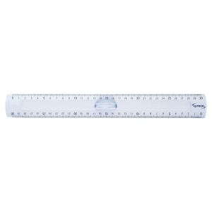 REGLE DOUBLE LYRECO 30 CM TENON CENTRAL EN PLASTIQUE TRANSPARENT BORD ANTITACHES