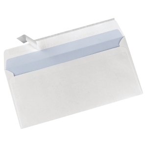 Caixa 500 envelopes brancos DL LYRECO papel offset. Dim: 110x220 mm