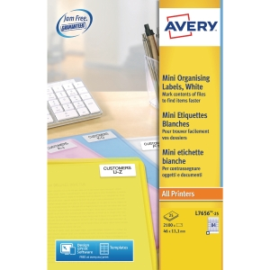 AVERY MEDIA LABEL SLIDE L7656 35MM 84LABELS/SHT 46X11.11MM WHITE PACK 25 SHTS