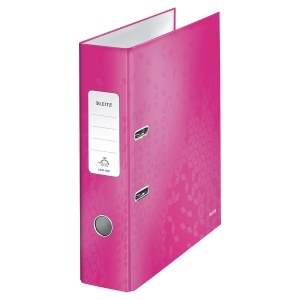 Leitz 180° Wow Laminated A4 , 80mm Spine, Lever Arch File Pink