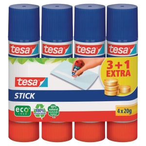 Klebestift Tesa Medium Easy Stick ecoLogo, 20g, 3+1 gratis