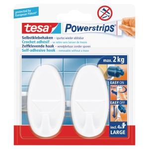 Haczyki TESA® Powerstrips, w opakowaniu 2 haczyki i 4 wymienne wkłady