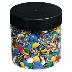 Plastic drawing pins 7mm assorti - box of 1000