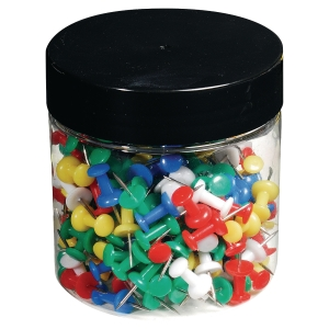 Push Pins 10Mm Assorted Colours - Tub Of 200