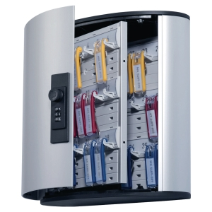 Durable 1966-23 key cabinet with combination lock for 36 keys grey aluminium