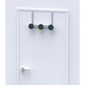 Türgarderobe Alba PSM3P, 3 Haken, für Türblättern bis 40mm Tiefe, schwarz/silber