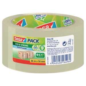 PAKKETAPE TESA 58153 ECO PP 50 MM X 66 M TRANSPARENT 1 RULLE