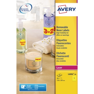 Avery Labels A4 Size 210X297Mm Fluorescent Yellow - Box Of 20 Labels
