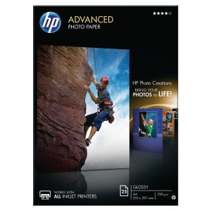 Paquet 25 feuilles papier photo HP advanced brillant A4 250g q5456a
