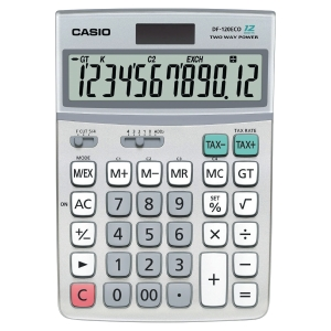 Casio DF-120 ECO calculatrice de bureau grand format grise - 12 chiffres