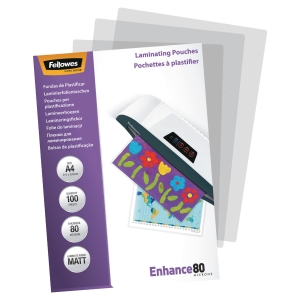 FELLOWES LAMINATING POUCHES A4 MATT 160 MICRONS (2 X 80) - PACK OF 100