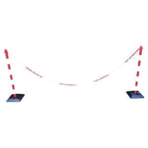 Set chaîne flexible avec poteaux, rouge/blanc