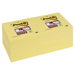 Pack 12 Blocos notas adesivas Post-it Super Sticky amarelo 76x76mm