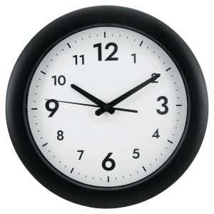Reloj de pared easy de plástico color negro  30mm de diámetro