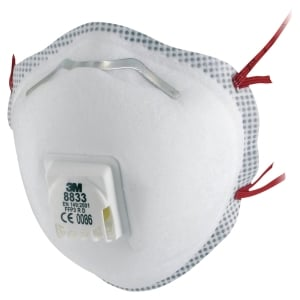 3M 8833 FFP3 Disposable Respirator Masks With Valve (Box of 10)