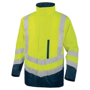 Parka haute visibilité Deltaplus OPTIMUM 4 en 1 amovible jaune/bleu taille XL