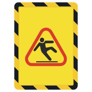 TARIFOLD FRAME MAGNETO SAFETY SIGN FRAME BACK A4 BLK/YLW PACK OF 2