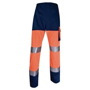 Pantalon haute visibilité Deltaplus Panostyle orange fluo/bleu marine taille L