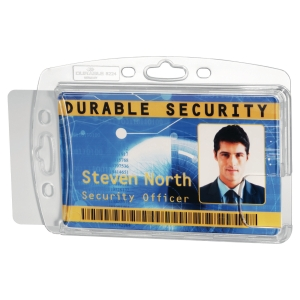 PAQUET DE 10 BADGES PORTE-CARTES DE SECURITE FERME POUR 2 CARTES 8924 BLANC