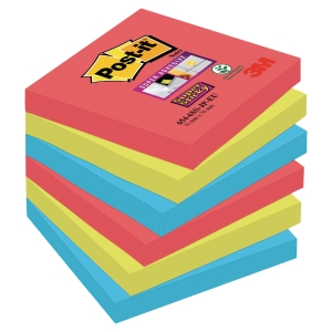 Karteczki samoprzylepne Post-it Super Sticky, Bora Bora, 76x76mm, 6x90karteczek