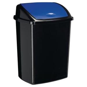 Poubelle  cep noire en polypropylene avec couvercle basculant bleu 50 l