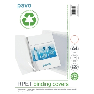Pavo Clear A4 Recycled Polypropylene Report Covers 200 Micron - Pack of 100
