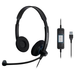 Słuchawki SENNHEISER SC60 USB CTRL, przewodowe dwuuszne, PC