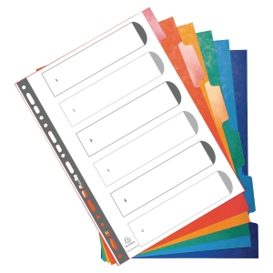 Herbeschrijfbare neutrale tabbladen in karton A4 6 tabs