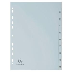 Tabbladen in PP A4 1-10 tabs wit
