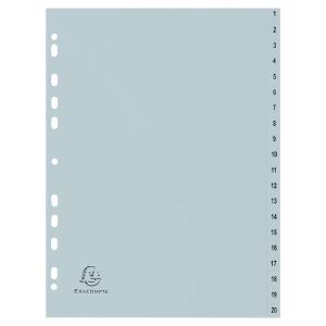 Tabbladen in PP A4 1-20 tabs wit