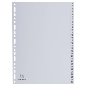 Tabbladen in PP A4 1-31 tabs wit