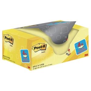 FOGLIETTI POST-IT® ADESIVO STANDARD:OFFERTA 16+4 GRATIS 38x51MM GIALLO CANARY™
