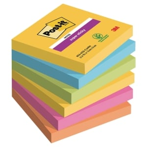 Pack de 6 blocks notas adhesivas Post-it Super Sticky río de Janeiro 76x76 mm