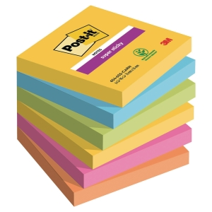 Haftnotizen Post-it Super Sticky, 76x76 mm, 90 Blatt, Rio, Pk. à 6 Stk.