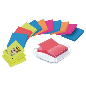 Z-Notes Post-it Super Sticky - 76 x 76 mm - Bora Bora - 12 blocs + dévidoir Pro