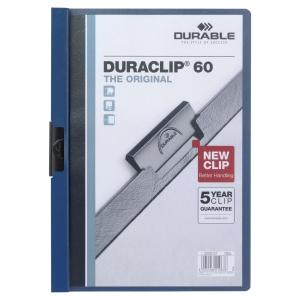 Durable 2209 Duraclip chemise à pince A4 PVC 60 feuilles bleu foncé
