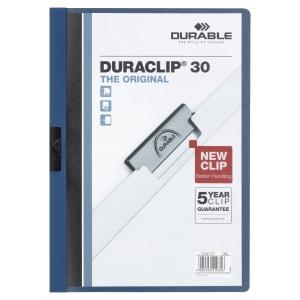 Durable 2200 Duraclip chemise à pince A4 PVC 30 feuilles bleu foncé
