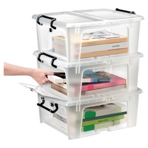 Aufbewahrungsbox Cep Strata, für 20 Liter Inhalt, mit Deckel, transparent