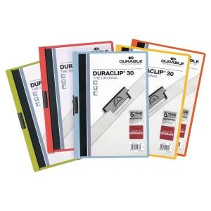 Chemise de présentation Durable Duraclip à clip - dos 3 mm - assorties - par 5