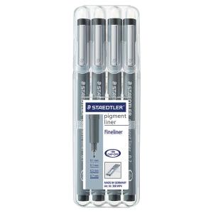 Staedtler 308 Pigment Liner, schwarz, Packung mit 4 versch. Spitzenstärken