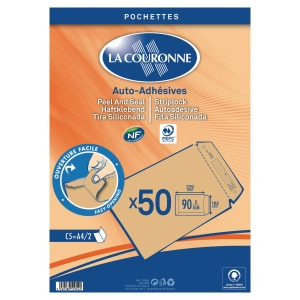 Pack de 50 envelopes La Couronne C5 162x229 90g creme