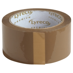 Lyreco Premium hotmelt packaging tape 50 mm x 66 m brown - pack of 6