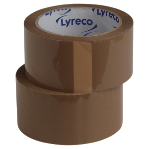 Lyreco PP ruban d emballage sans bruit 75 mm x 66 m brun - paquet de 6
