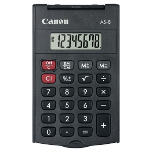 CALCOLATRICE TASCABILE CANON AS-8 CON DISPLAY 8 CIFRE NERA