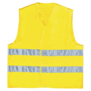 High-visibility waistcoat with 2 horizontal bands - size L - yellow